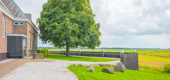 Island and settlement in reclaimed land from the sea Royalty Free Stock Images