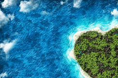 The island in the shape of a heart with  bird's eye view Stock Photography