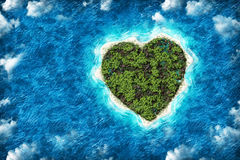 The island in the shape of a heart with  bird's eye view Royalty Free Stock Photos