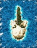 Island in the shape of a Unicorn stock image