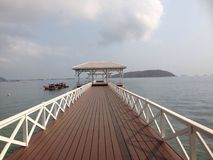 Island Si Chang. Wooden bridge on the sea Royalty Free Stock Photo