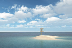 Island with signboard Royalty Free Stock Image