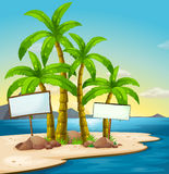 An island with signboards Stock Images