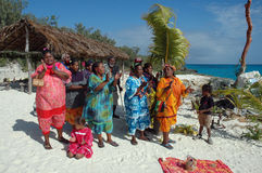 Island Singers. This group of happy island singers provided light entertainment for the people visiting there island, from a ship cruising the south pacific Royalty Free Stock Photos
