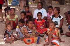 Island Singers. This group of happy island singers provided light entertainment for people visiting there island from a ship cruising the South Pacific Island Royalty Free Stock Photography