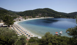 Island of Skopelos beach. View of the sea and beach in Skopelos Island, Greece Royalty Free Stock Photos