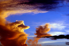 Island in the sky. An island in the sky at sundown royalty free stock photos