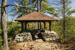 Island in the Sky Shelter. Clifftop, WVA – October 12th: A covered stone shelter on Island in the Sky Trail located in Babcock State Park, Clifftop, West Royalty Free Stock Images