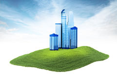 Island with skyscrapers floating in the air on sky background. 3d rendered illustration of an skyscrapers floating in the air on sky background Royalty Free Stock Image