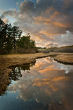 Island Slough at Sunset Royalty Free Stock Photos