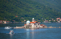 Island with small Church in Kotor Bay Stock Photos