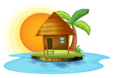 An island with a small hut. Illustration of an island with a small hut on a white background Stock Illustration