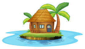 An island with a small nipa hut. Illustration of an island with a small nipa hut on a white background Stock Image