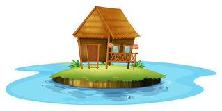 An island with a small nipa hut. Illustration of an island with a small nipa hut on a white background Stock Photography