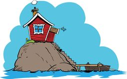 Island small swedish house. A small home on a  island with blue sky and water Royalty Free Stock Image