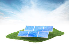 Island with solar panels floating in the air. 3d rendered illustration of an island with solar panels floating in the air on sky background Royalty Free Stock Images