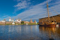 Replica of the little boat of Emperor Peter the First. ISLAND SOLOVKI, RUSSIA - JUNE 26, 2018: The yacht `Saint Peter ` is a replica of the little boat of stock photo