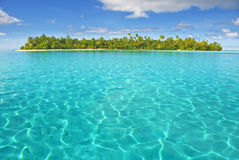 Island in south pacific. Motu island near Huahine, French Polynesia, South Pacific stock image