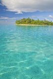 Island in south pacific. Motu island near Huahine, French Polynesia, South Pacific stock photo
