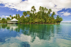 Island in south pacific. Bungalow on Motu island near Huahine, French Polynesia, South Pacific stock images