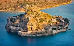 Island of Spinalonga, Crete, Greece. The Island and fortress Spinalonga, Mirabello Bay, Crete, Greece, Europe Stock Image