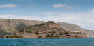 Island of Spinalonga in the Gulf of Elounda  town in  Crete Stock Images