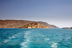 The island of Spinalonga view from ferry Royalty Free Stock Photos