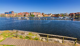 Island spring view for Karlskrona city bay Royalty Free Stock Photography