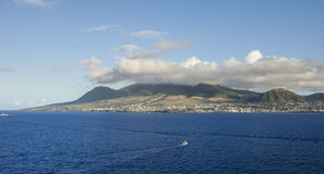 Island of St Kitts seen from sea Royalty Free Stock Photo