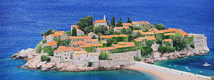 Island St. Stefan in Montenegro. A view of an island St. Stefan in Montenegro Stock Photography