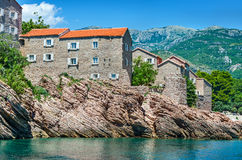 Island St. Stefan, Montenegro. Old village. Royalty Free Stock Image