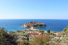 The island of St. Stephen in the Adriatic Sea. In Montenegro Stock Image