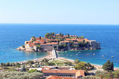 The island of St. Stephen in the Adriatic Sea. In Montenegro Royalty Free Stock Photos