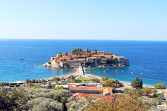 The island of St. Stephen in the Adriatic Sea. In Montenegro Stock Images