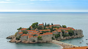 The island of St. Stephen, a top view. Montenegro stock images