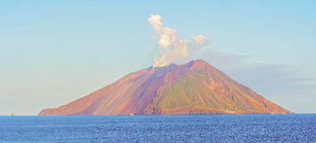 Island Stromboli by Tyrrhenian sea in Italy. Royalty Free Stock Photos