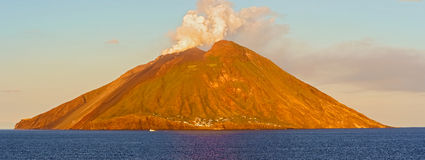 Island Stromboli by Tyrrhenian sea in Italy. Royalty Free Stock Photography