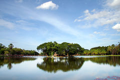 Island in Sukothai, Thailand. View over one of the lakes in Sukhotai, Thailand Royalty Free Stock Image