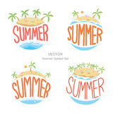 Island summer symbols set, Vector Royalty Free Stock Image