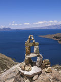 Island of the Sun, Lake Titicaca, Bolivia. Stone cairn in the Island of the Sun in Lake Titicaca, between Peru and Bolivia Royalty Free Stock Images
