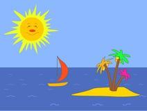 Island, sun, vessel Royalty Free Stock Photography