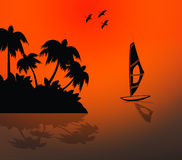 Island sunset. Island and sail boat in the sunset royalty free illustration