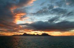Island sunset. On moorea island, french polynesia stock photo