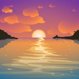 Island sunset 01. Illustration of beautiful sunset with sea and clouds Stock Photography