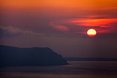 Island Sunset. Misty Sunset over Greek Islands stock images