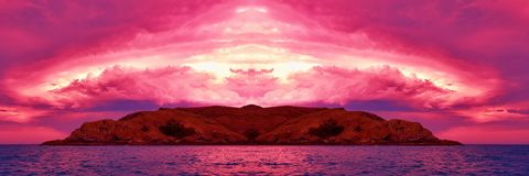 Island Sunset Panorama. Stock Image