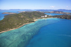 Hamilton Island surrounded by ocean and coral reef Stock Photo