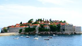 Island of Sveti Stefan, close-up of the island in the afternoon. stock video footage