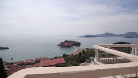 Island of Sveti Stefan, close-up of the island in the afternoon. stock footage