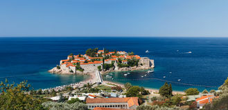 Island Sveti Stefan. high view Royalty Free Stock Photography